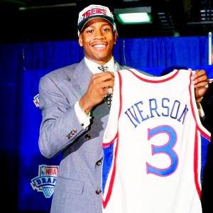 The Philadelphia 76ers selected Allen Iverson with the number one pick in the 1996 NBA Draft.