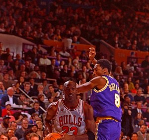 Chicago Bulls Michael Jordan and Los Angeles Lakers Kobe Bryant during the NBA All-Star Game on Feb. 8, 1998 at Madison Square Garden in New York. (Robert Seale / TSN.)